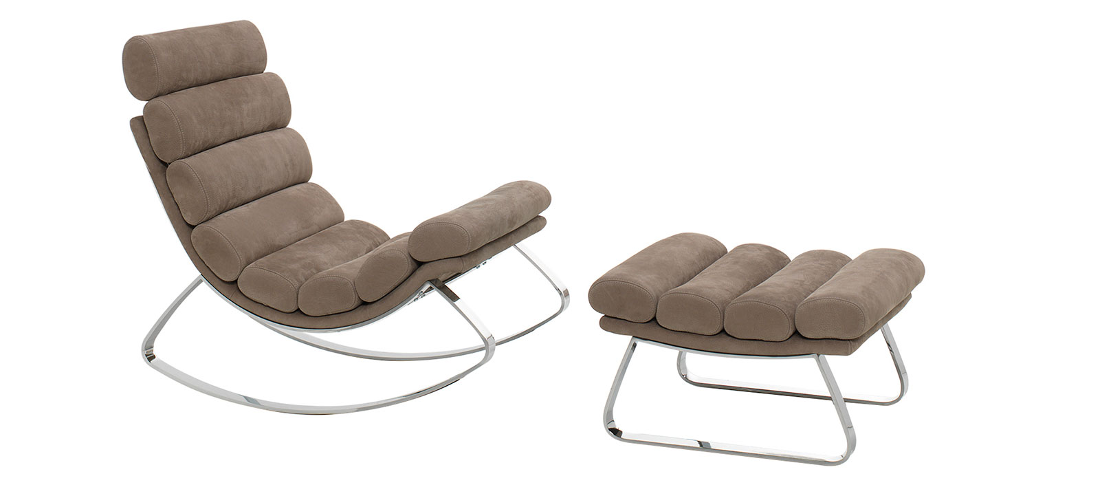Luxurious rocking chair designed by Stefano Conficconi. wood, chrome metal and nubuck leather. Shop for modern Italian furniture. Free home delivery.