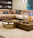 Design by Daniele Lo Scalzo Moscheri. 2 coffee tables in one. A square table in marble and a round one in walnut wood and bronzed glass. Free home delivery.