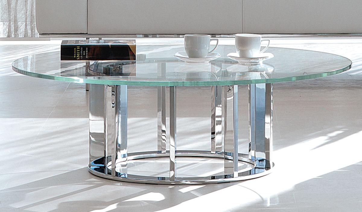Italian Glass Coffee Table.Naxos Round Coffee Table