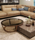 Niky round coffee table with glass top and walnut solid wood frame Design by Daniele Lo Scalzo Moscheri