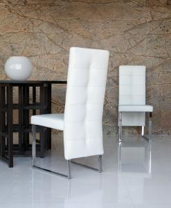 arredamento casa on line moderno di lusso 2015 design inspiration web made in italy sedia imbottita metallo cromato rivestimento pelle bianca prezzo