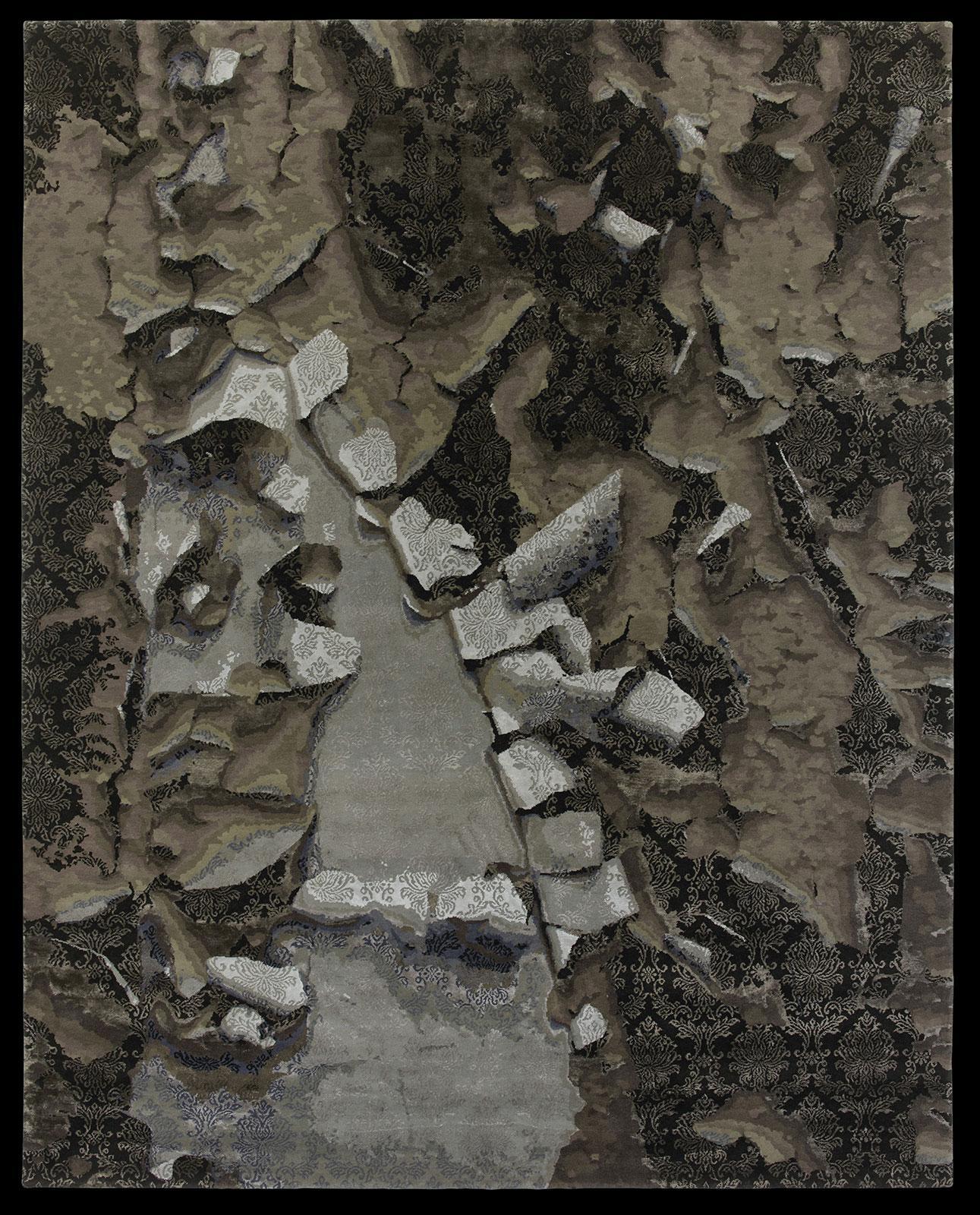tappeto rettangolare spesso annodato a mano grande geometrico lavabile moderno morbido misura lana texture sabbia marrone