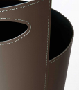 Black iron umbrella stand covered with regenerated leather. Furniture accessory in white, black or red colour. Online shopping and home delivery.