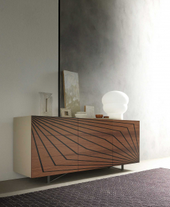 3-door sideboard in lacquered MDF. Walnut veneered doors with ebony inlays. Design by Andrea Lucatello. Made in Italy. Online shopping and home delivery.