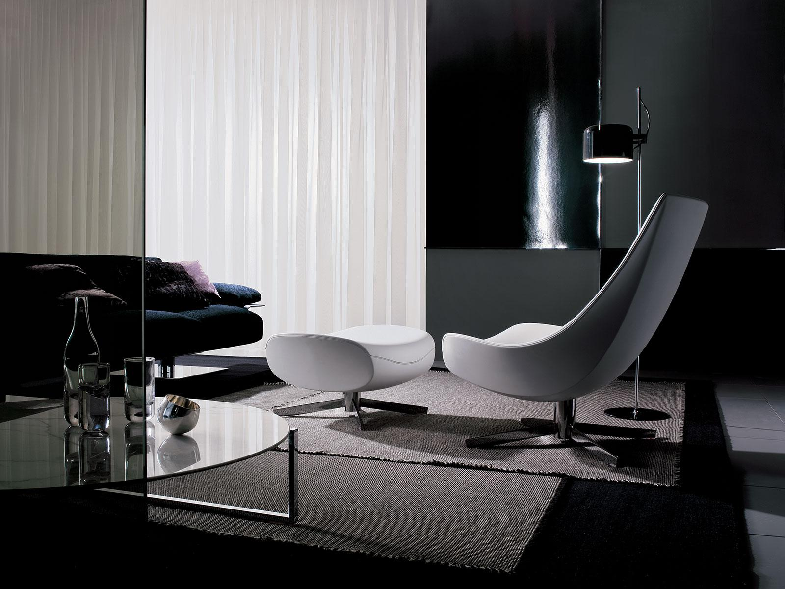 oyster fauteuil pivotant en cuir vente en ligne italy. Black Bedroom Furniture Sets. Home Design Ideas