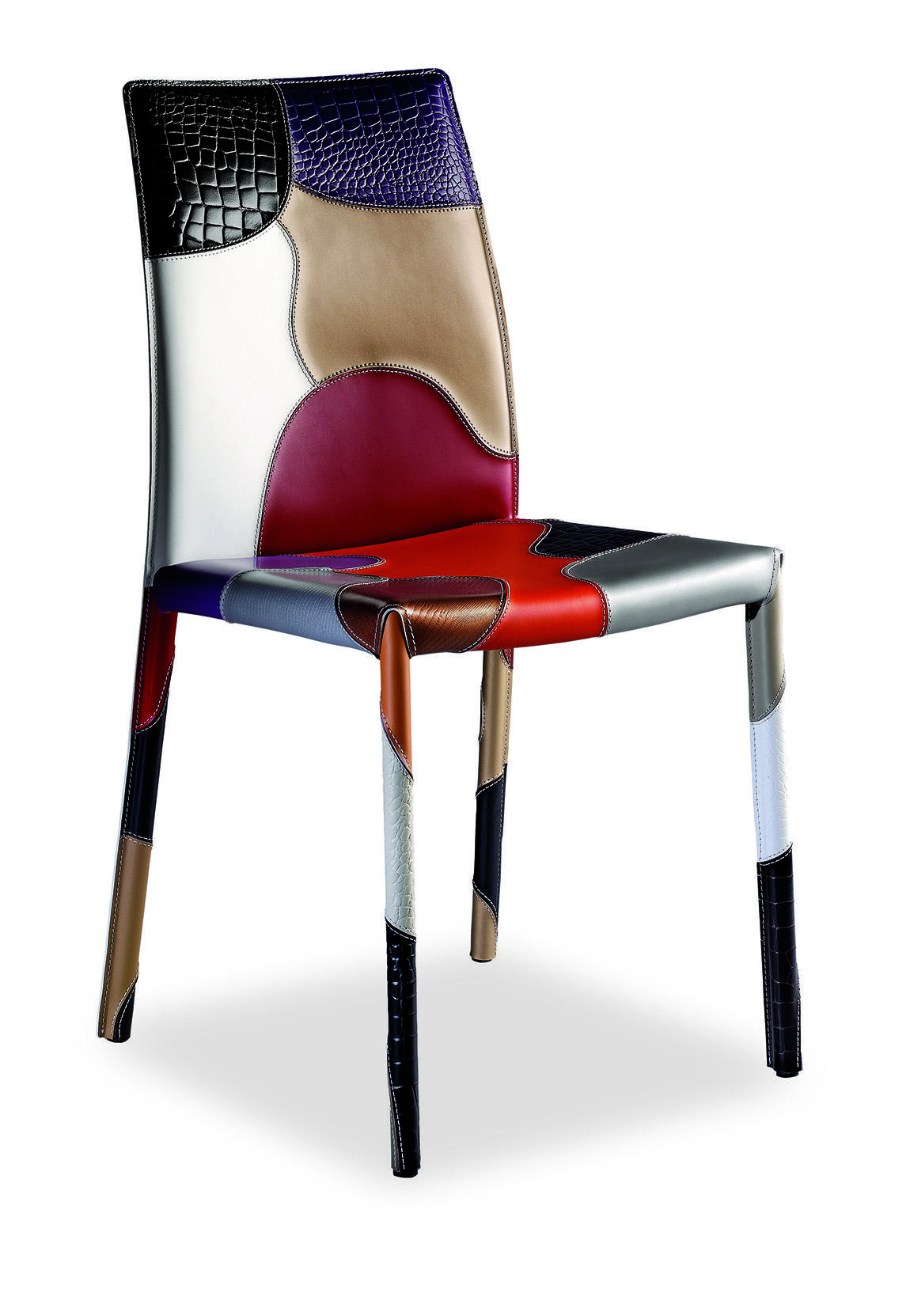 Patchwork sedia in cuoio italy dream design - Chaise de bar originale ...