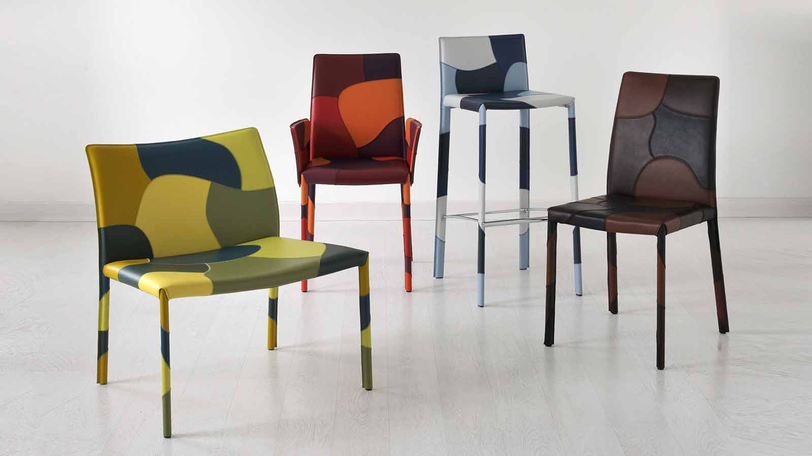 Our selection of patchwork leather coated chairs offers a wide range of dining room chairs available in different colours. Shop now for patchwork chairs.