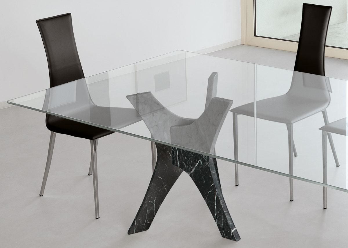 tavolo allungabile vetro temperato acciaio satinato trasparente prezzi rotondo / quadrato cristallo arredamento casa moderno on line soggiorno di lusso loft