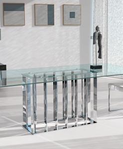 arredamento casa on line moderno di lusso 2015 design inspiration web made in italy tavolo rettangolare vetro temperato acciaio trasparente prezzi cristallo