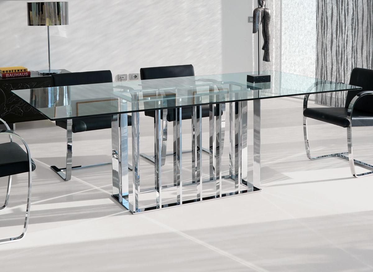Table rectangulaire en verre vente en ligne italy for Table 6 10 personnes