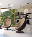 Planet swivel relax armchair covered in leather design Daniele Lo Scalzo Moscheri