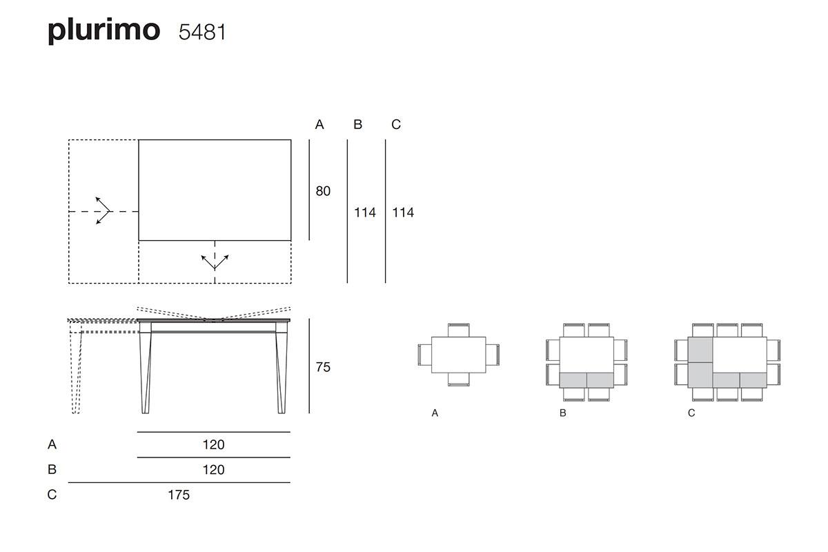 Plurimo 5481 tavolo trasformabile rettangolare allungabile