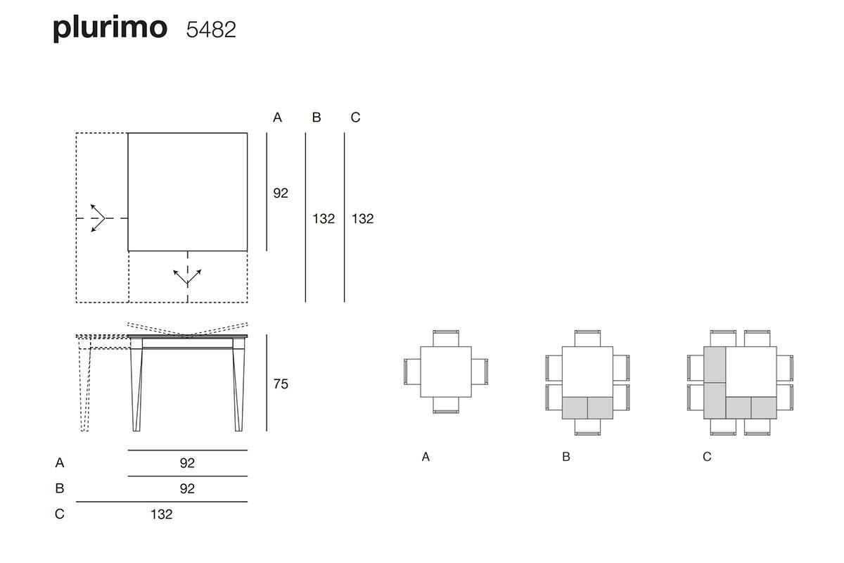 Plurimo 5482 tavolo trasformabile quadrato allungabile
