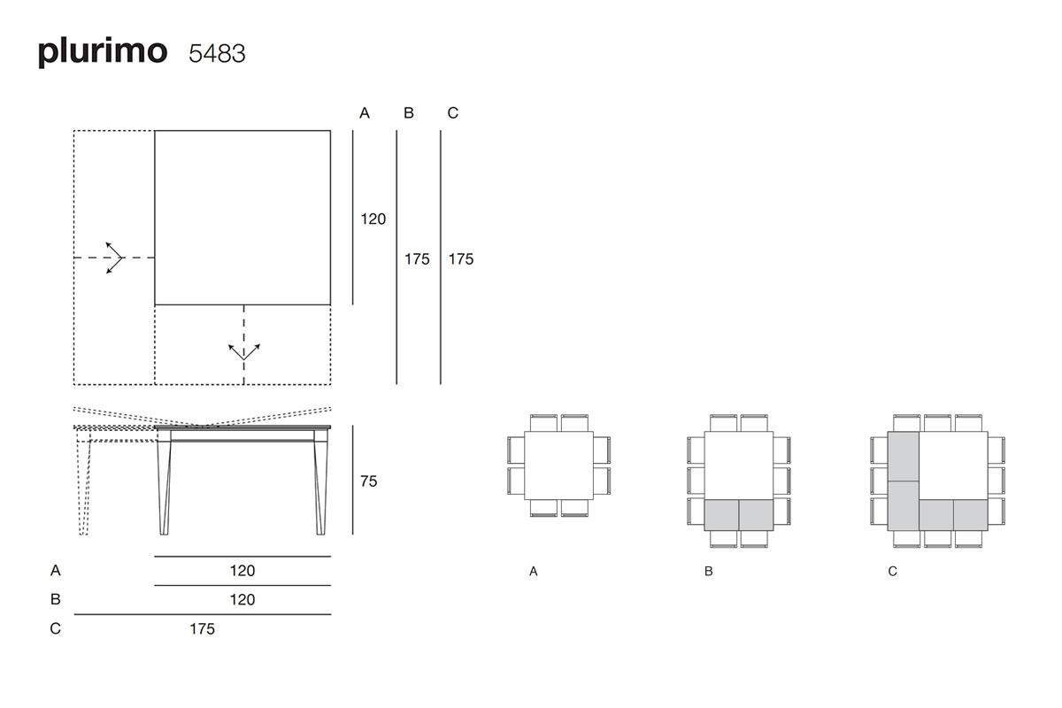 Plurimo 5483 tavolo trasformabile quadrato allungabile