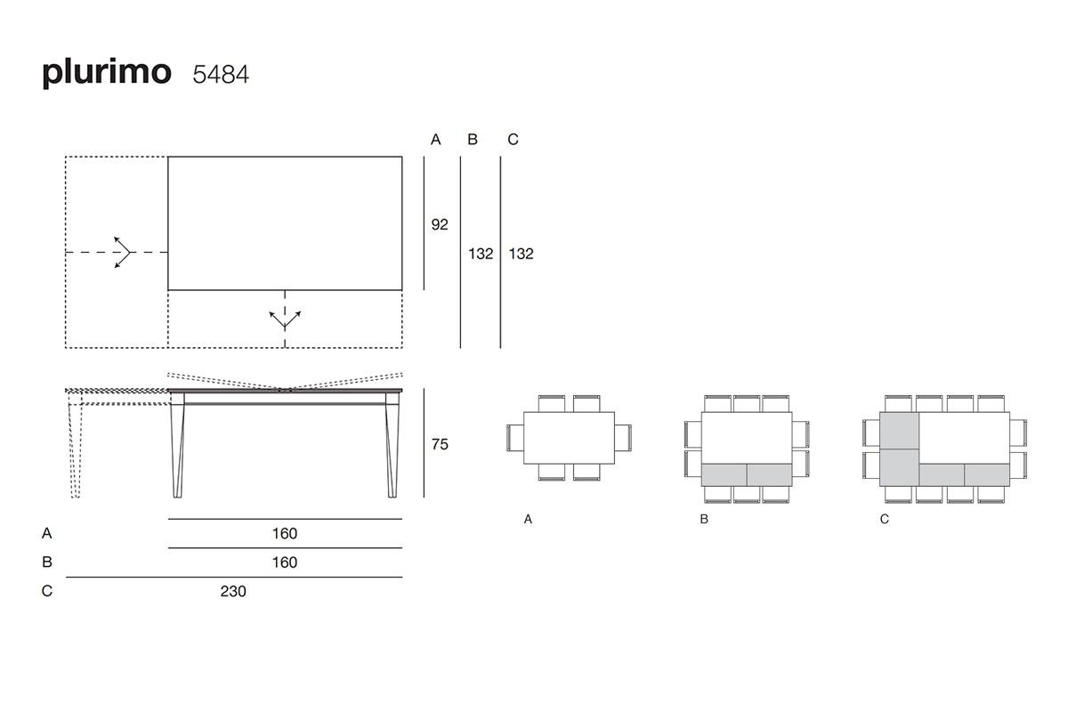 Plurimo 5484 tavolo trasformabile rettangolare allungabile