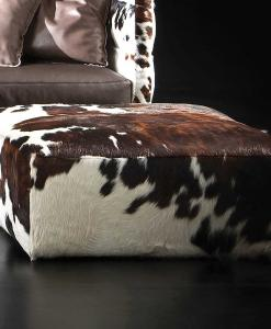 cow leather ottoman, ottoman pouff puff square cow leather cavallino pony dimension size house home sofa furniture made in italy handcrafted