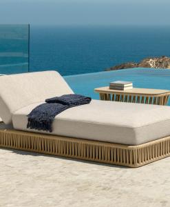 Chaise longue d'extérieur en aluminium et corde tressée beige. Vente en ligne de meuble de jardin haut de gamme et design avec livraison gratuite.