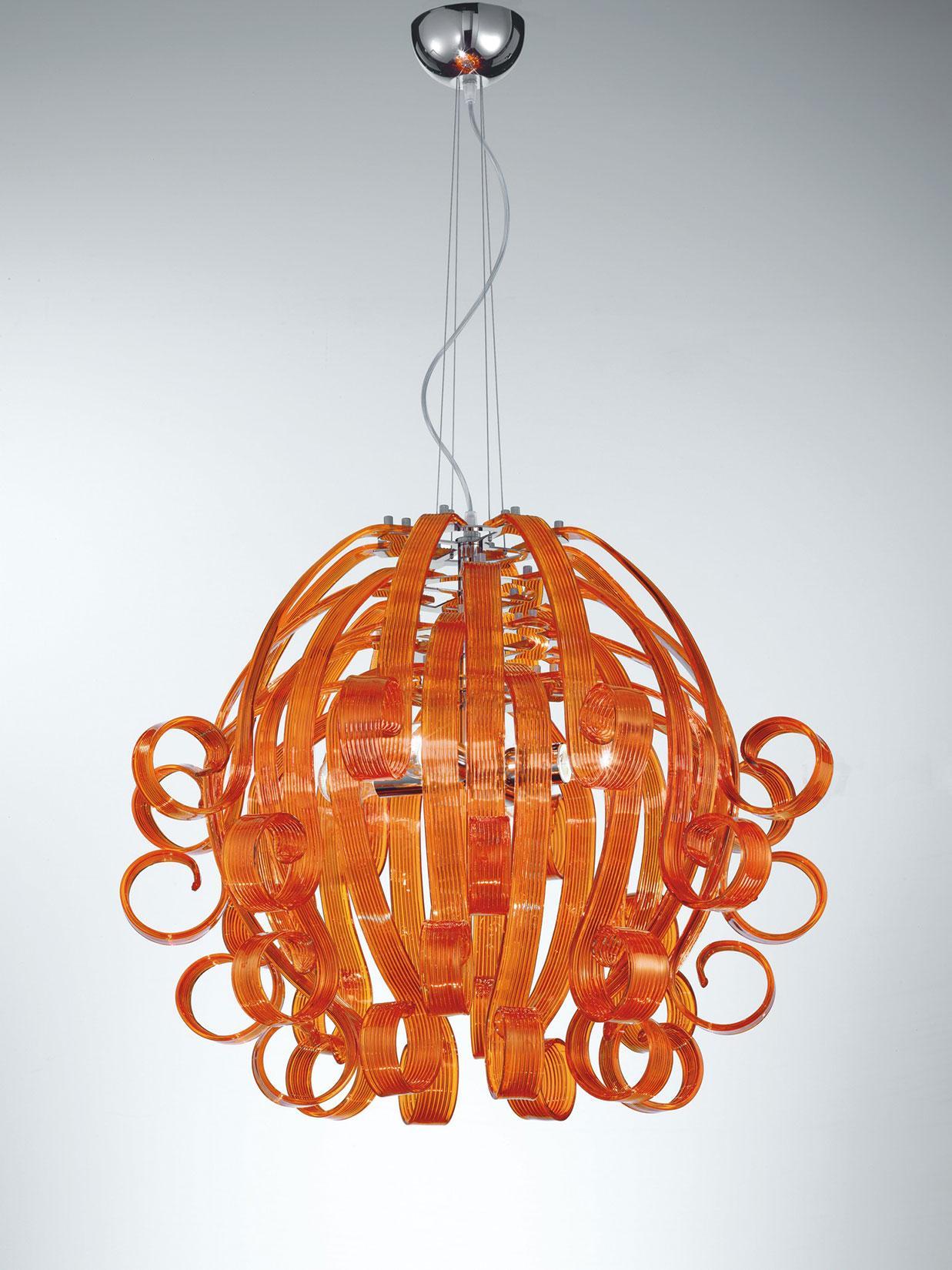 Ricciolo pendant light in Murano glass IDD
