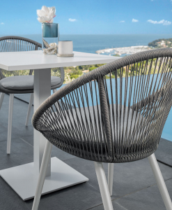 Aluminium frame and grey synthetic fabric. Grey cushion included. A luxurious and elegant outdoor chair for garden, poolside, yachts, hotels, restaurants...