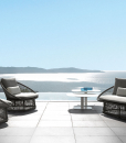 Garden furniture for luxurious villas, yachts, hotels. Outdoor sofa in a grey aluminium frame and weave fabric. Online shopping and free delivery.