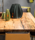 Original Venetian Briccola wood is used to create a precious rectangular dining table with metal legs, numbered and with its certificate of authenticity.
