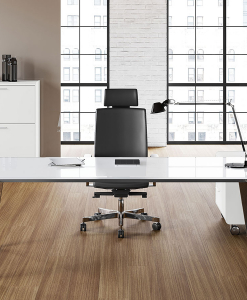Luxurious and modern office furniture. Sev executive desk in white crystal has chrome legs. Design by Nikolas Chachamis. Online shopping, free shipment.