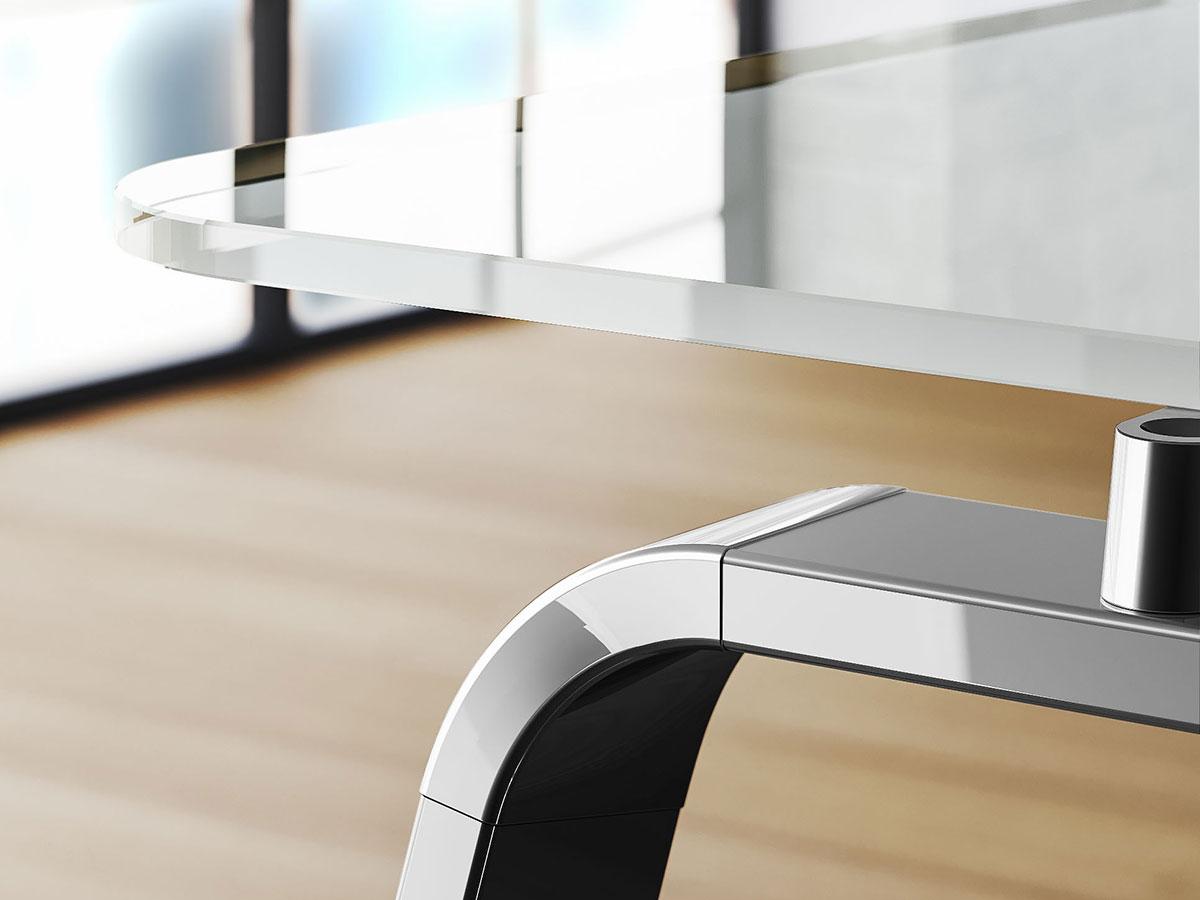 Sev scrivania direzionale in cristallo bianco italy for Scrivania vetro ufficio