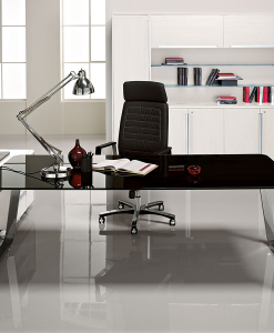 Sev Is An Executive Desk In Black Crystal And Chrome Legs. High Quality  Choice