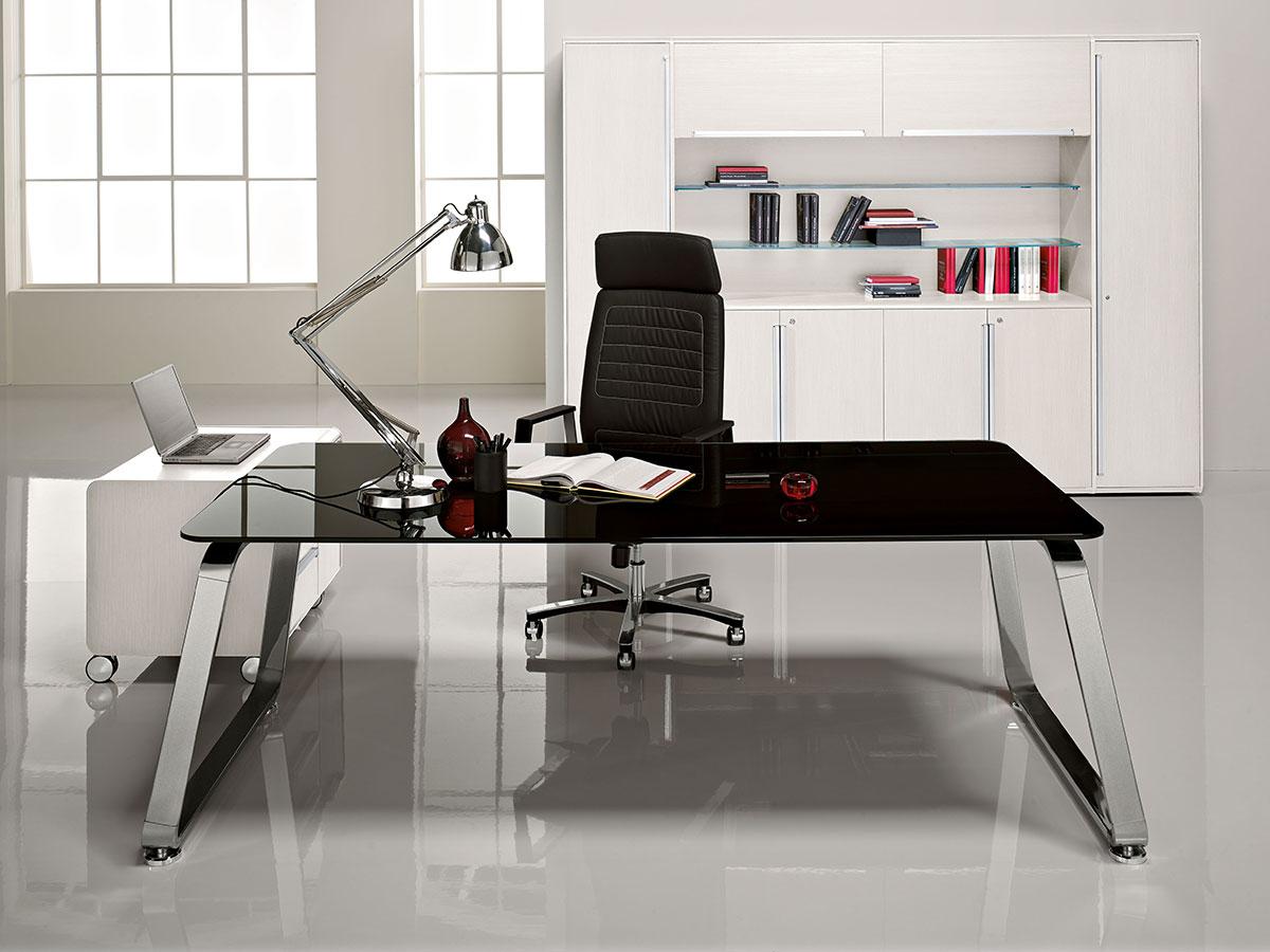 Sev scrivania direzionale in cristallo nero italy dream for Scrivania direzionale