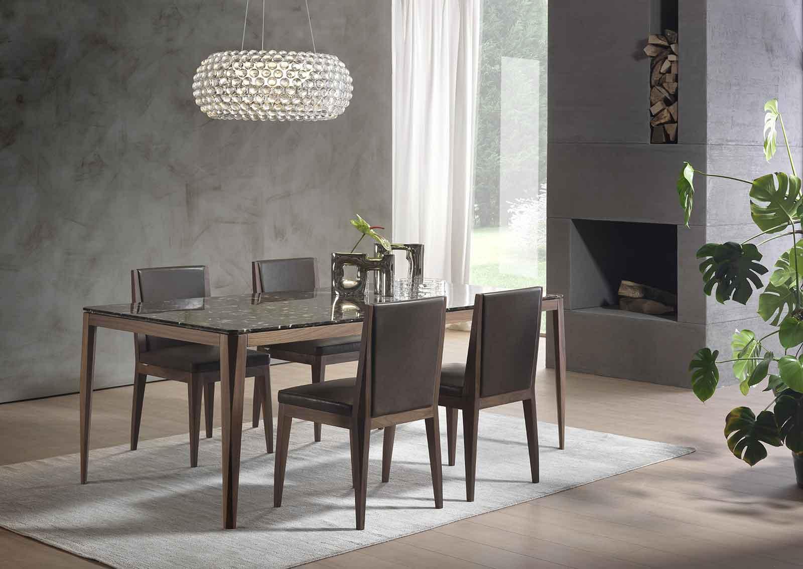 Table de repas rectangulaire en bois et marbre. Vente en ligne de tables design haut de gamme made in italy avec livraison gratuite. Ameublement de luxe.