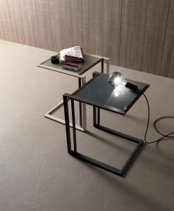 tavolino salotto soggiorno basso cristallo divano da fumo in vetro quadrato metallo design arredamento casa on line moderno di lusso web made in italy