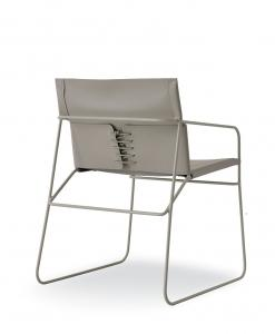 Steel and leather armchair