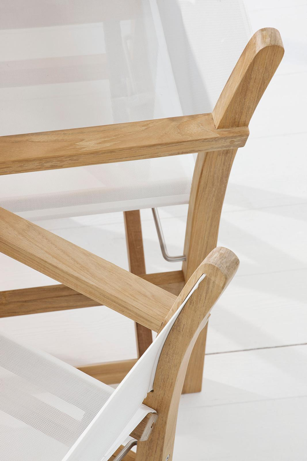 Outdoor director chair in teak and textilene. Outdoor folding luxury chair. Whole outdoor luxury : textilene chairs - Cheerinfomania.Com