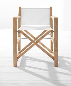 Chaise en teak et textilène. Adaptée à un usage extérieur. Chaise de jardin avec accoudoirs et pliante. Mobilier d'extérieur haut de gamme. Achat en ligne.