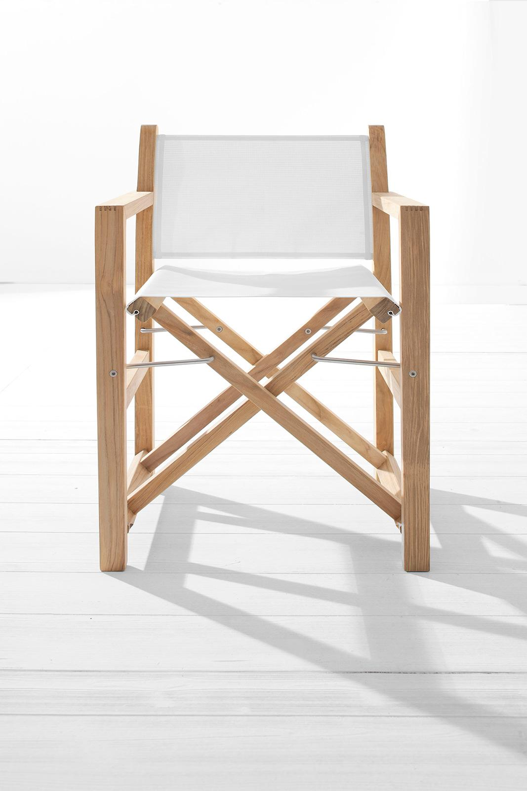 Exceptionnel Sahara Outdoor Director Chair In Teak And White Textilene