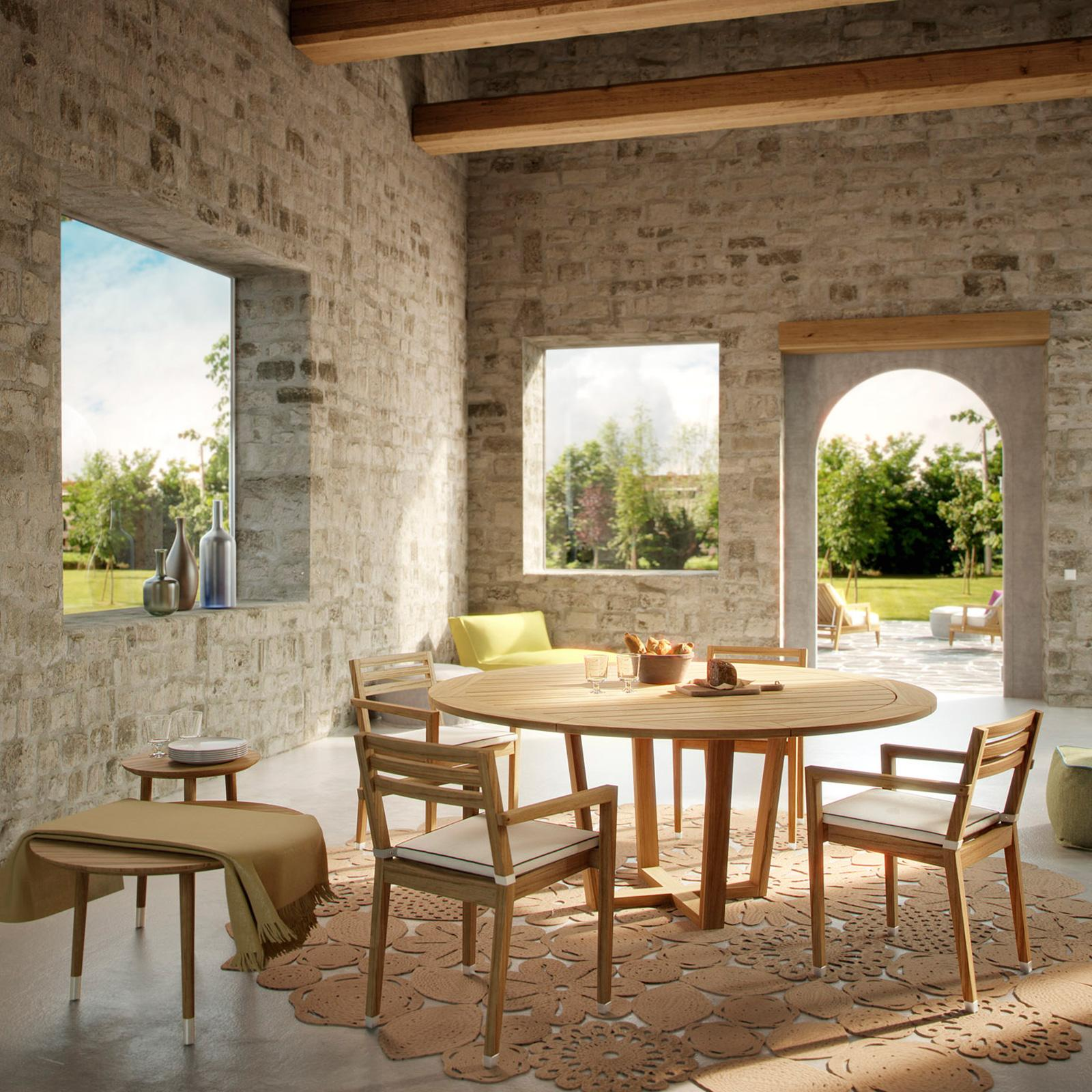 Sahara Tavolo Rotondo Da Esterno In Teak Italy Dream Design