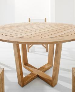 Luxury outdoor round table. Indonesian teak wood. Luxury furniture for garden and terrace. Online sale.