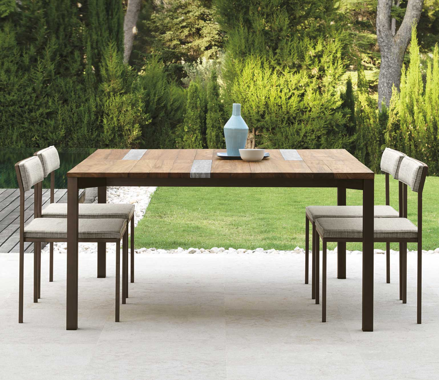 Garden Table With Stainless Steel Frame. Top In Iroko Wood And Travertine. Patio  Furniture