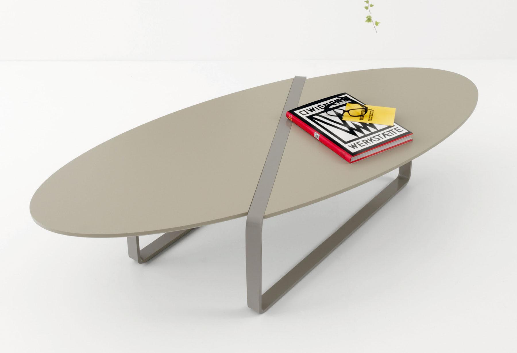 Print Oval Coffee Table in Metal and MDF