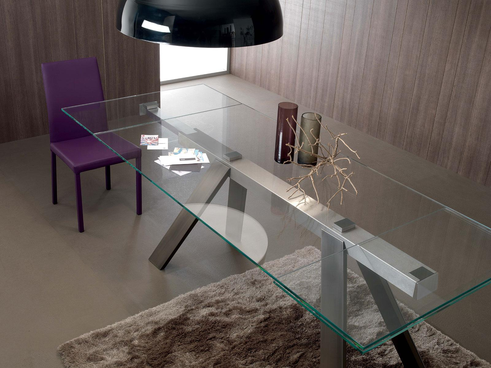 Transparence extendable glass dining table shop online for Table metal extensible