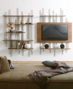 Meuble mural realisé artisanalement en Italie. Bibliothèque, porte-tv, meuble d'entrée avec miroir. Vente en ligne de meubles haut de gamme. Livraison gratuite