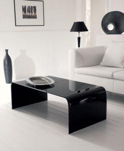 Titano tavolino in vetro curvo