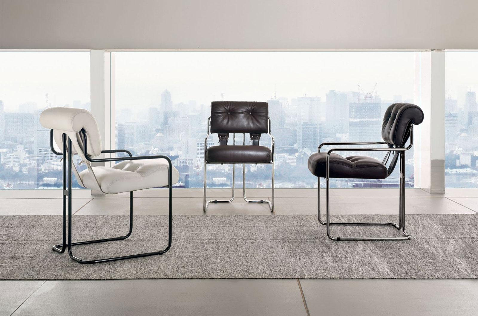 Tucroma Padded Chrome Frame Leather Covered Chair Shop Online Italy Dream Design