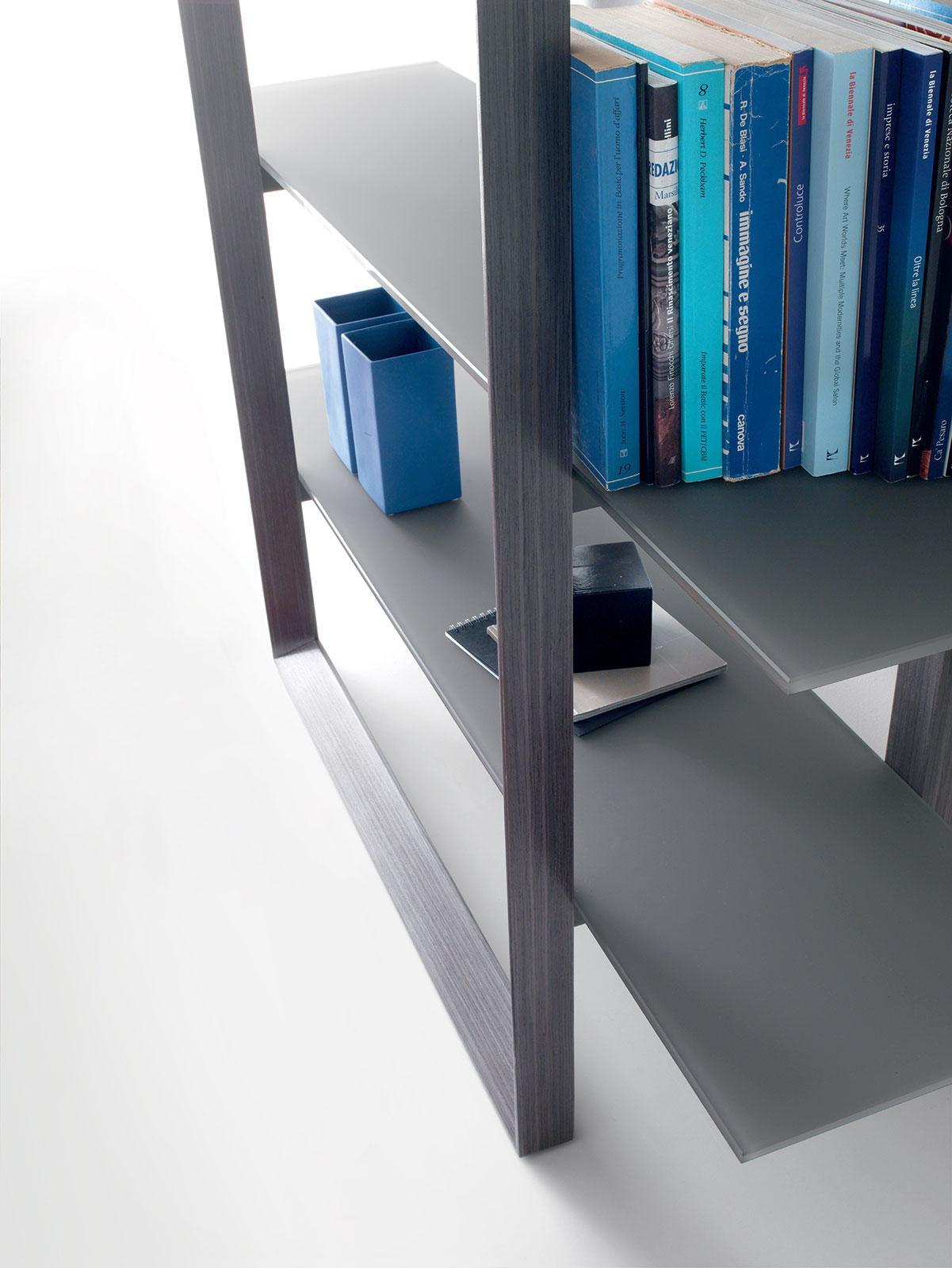 libreria biblioteca arredamento casa ufficio on line moderno di lusso 2015 design inspiration web made in italy mensole legno vetro rovere tortora grigio