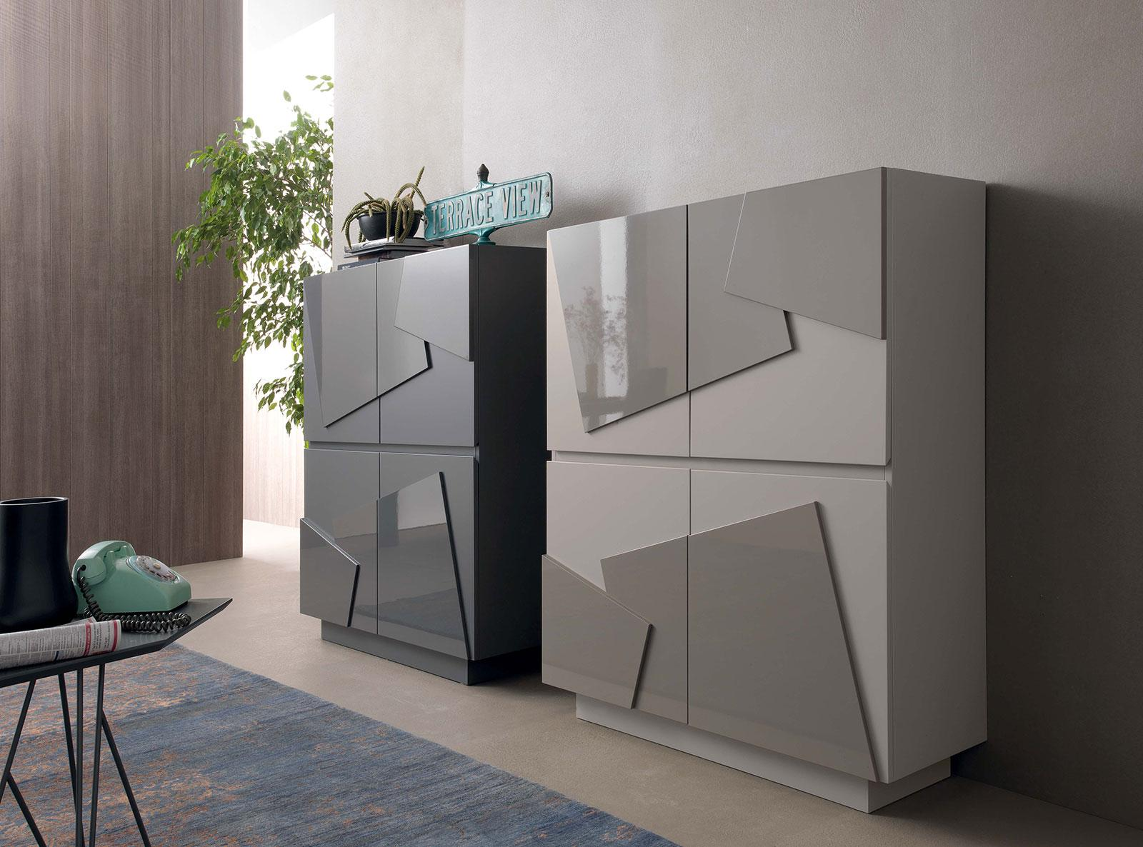 print buffet 4 portes - idd - Meuble Cuisine Blanc Laque
