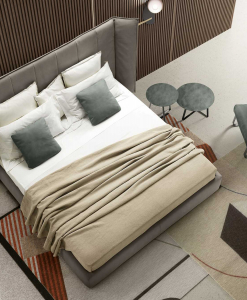 Lit en cuir avec tête de lit réglable. Vente en ligne de meubles italiens hauts de gamme. Livraison gratuite. Lit design italien avec coffre.