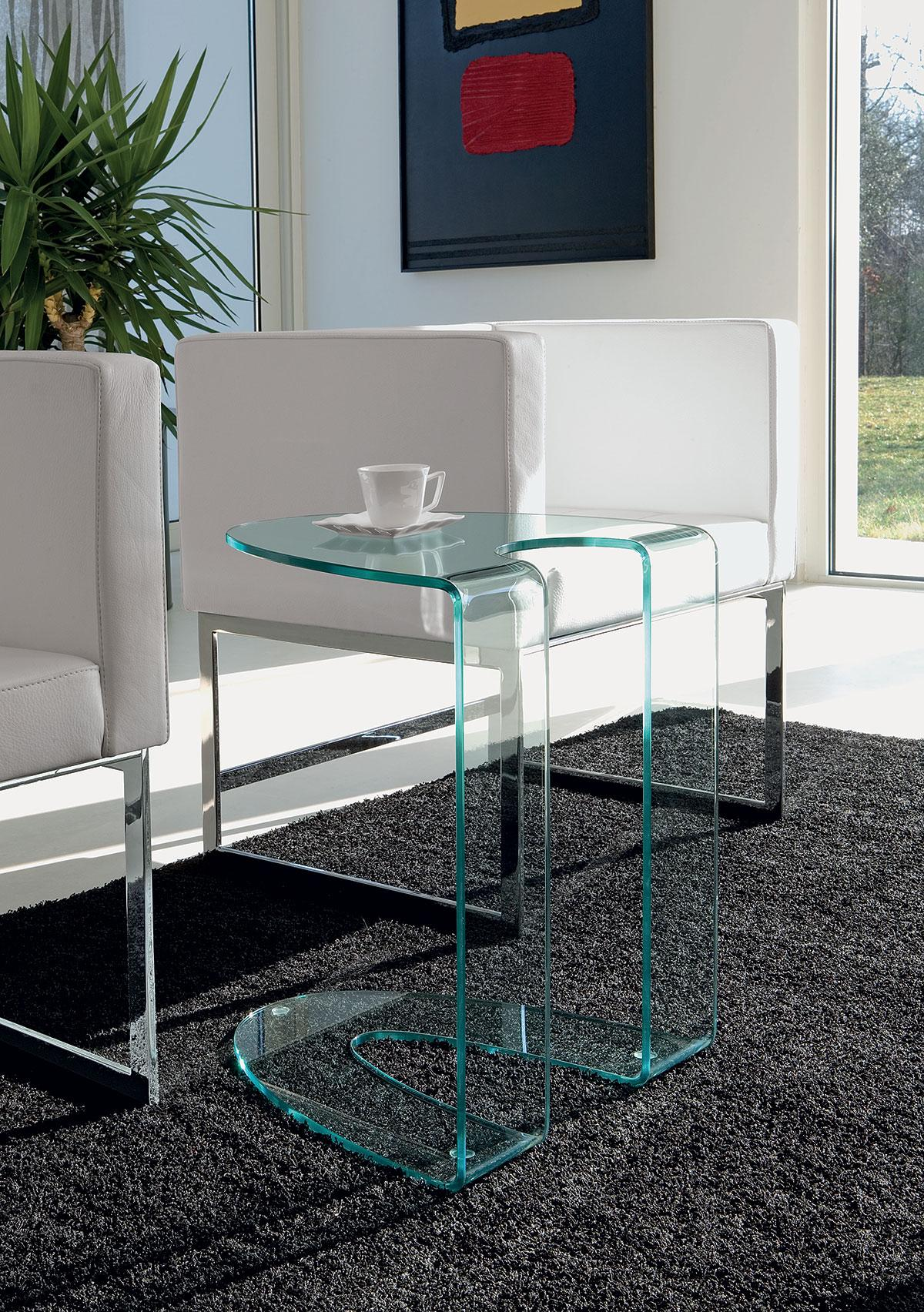 Italian Glass Coffee Table.Ambrogio Curved Glass Coffee Table