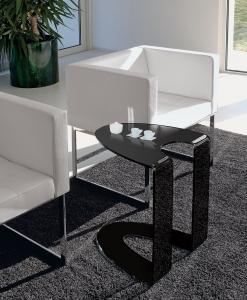 arredamento casa on line moderno di lusso design tavolino in vetro curvo vetro temperato acciaio tavolino soggiorno basso cristallo in vetro nero
