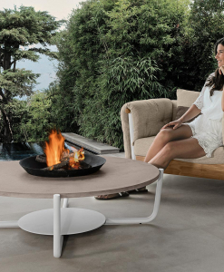 Round outdoor coffee table with central brasier. Design outdoor garden coffee table. aluminium and marble.
