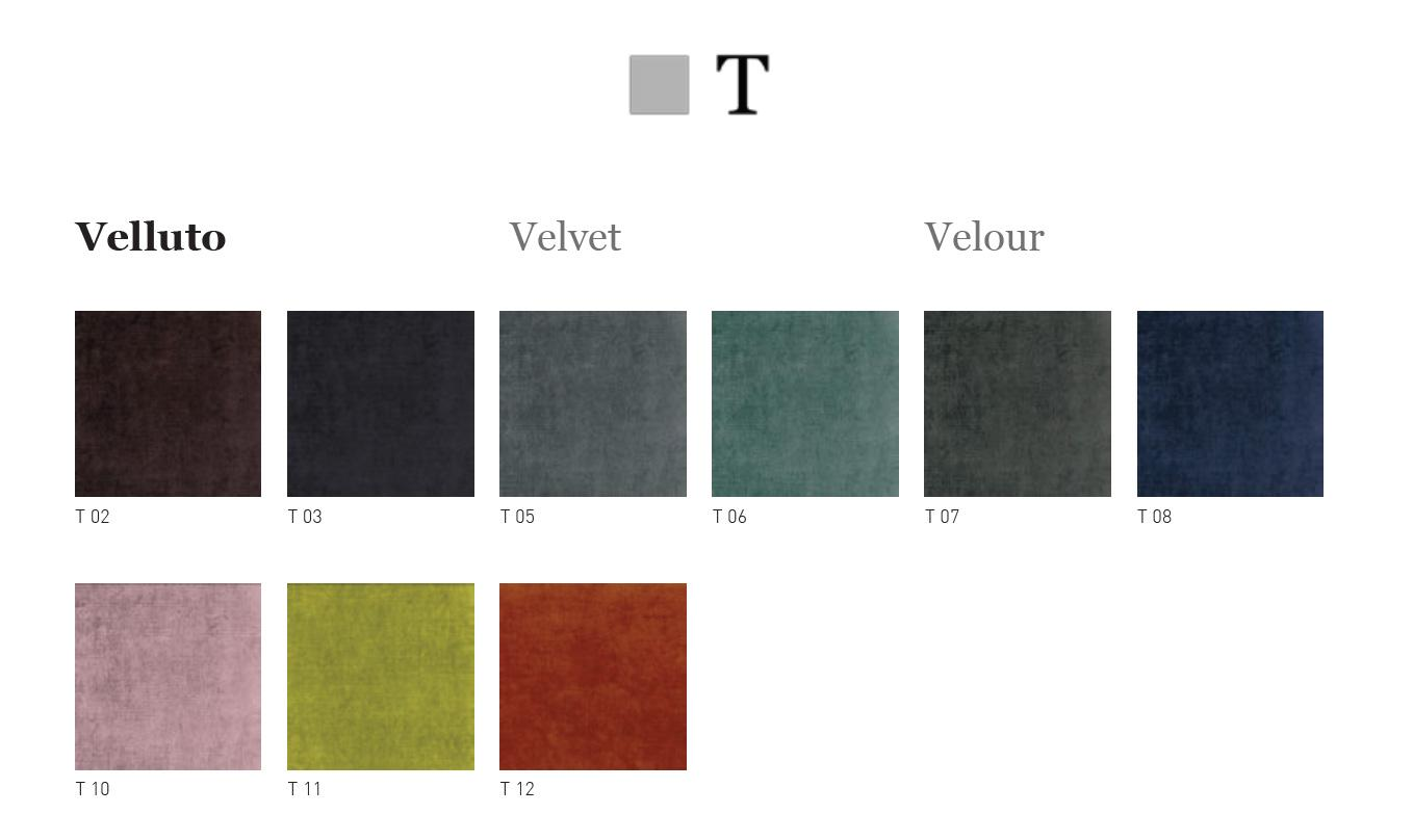 Velvet covering samples